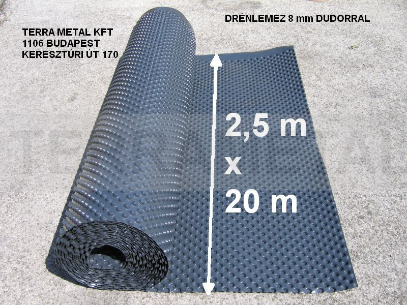 drenlemez 50 m2 8mm dudorral